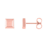 14k white gold petite gold square earrings