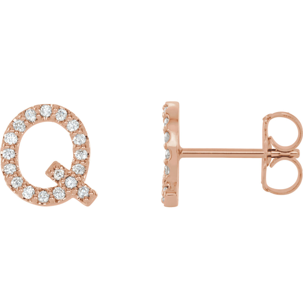 Rose Gold Letter Q earrings