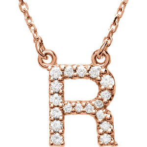 rose gold letter r necklace
