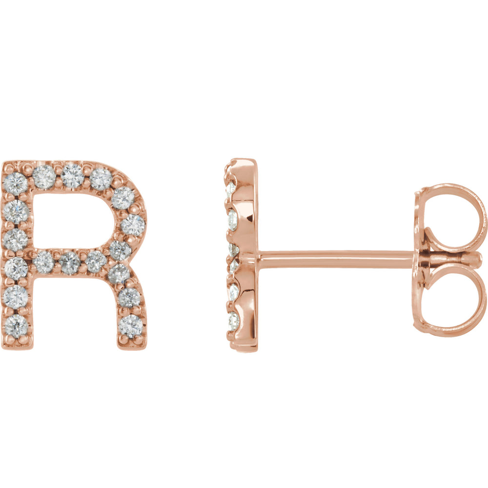 Rose Gold Letter R Earrings