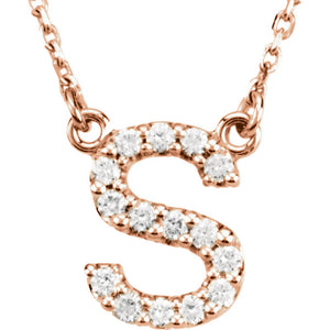 rose gold letter s necklace