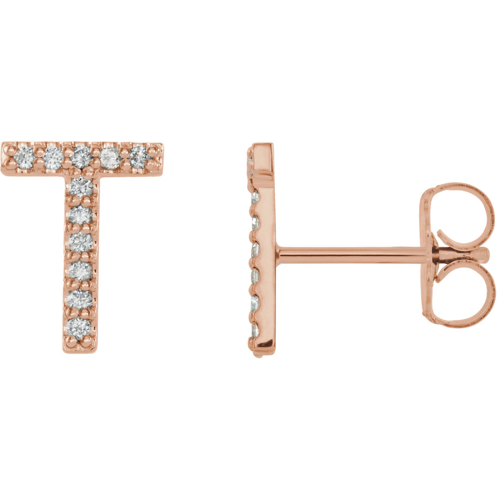 Rose Gold Letter T earrings