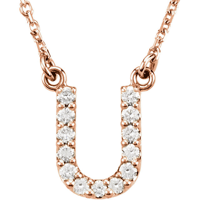 Rose Gold Letter U necklace