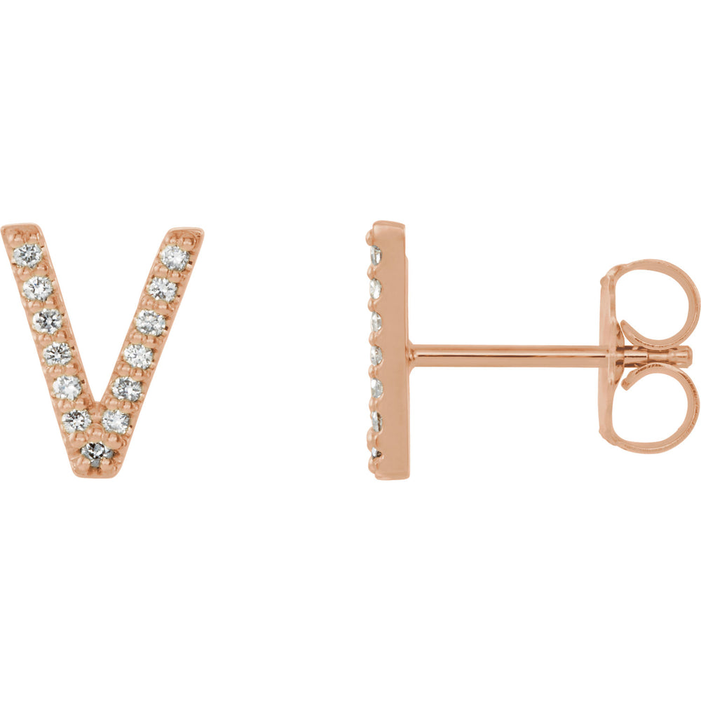 Rose Gold Letter V Earrings