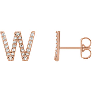 Rose Gold Letter W Earrings