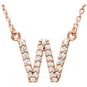 Rose Gold letter W necklace