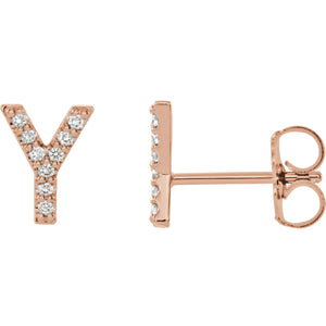 Rose Gold Letter Y Earrings