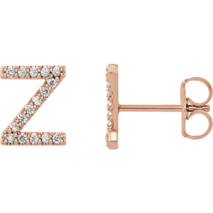 Rose Gold Letter Z earrings