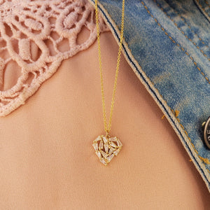Shattered Heart Baguette Diamond Necklace