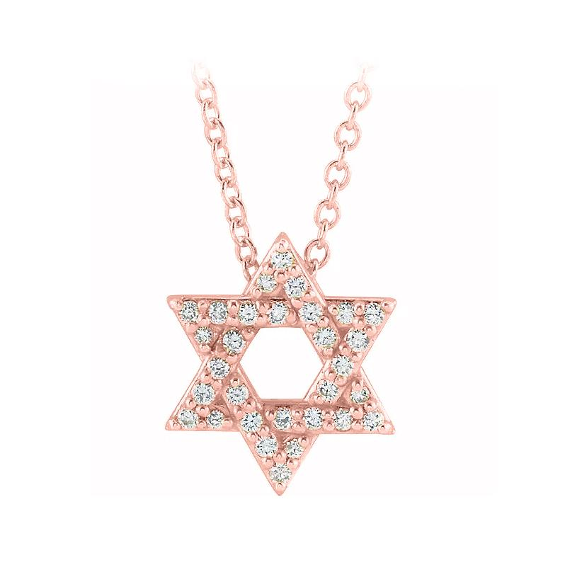 14k rose gold star of david diamond necklace