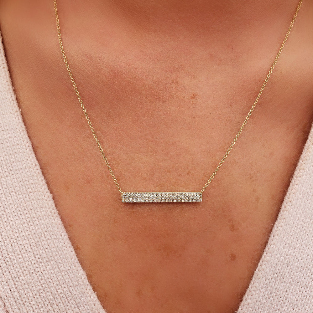 Thick Diamond Bar Necklace