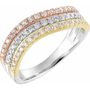 Tri-Color Diamond Stack Ring