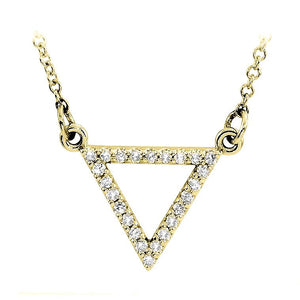 14k yellow gold triangle diamond necklace