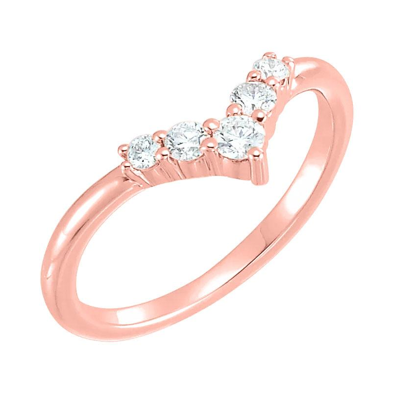 14k rose gold diamond v shape ring