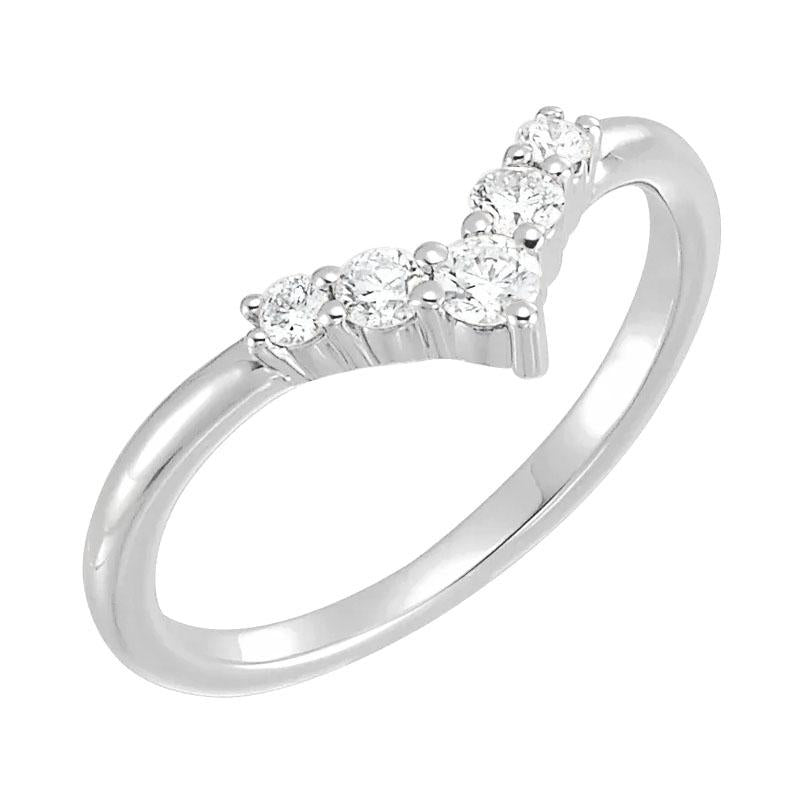 14k white gold diamond v shape ring