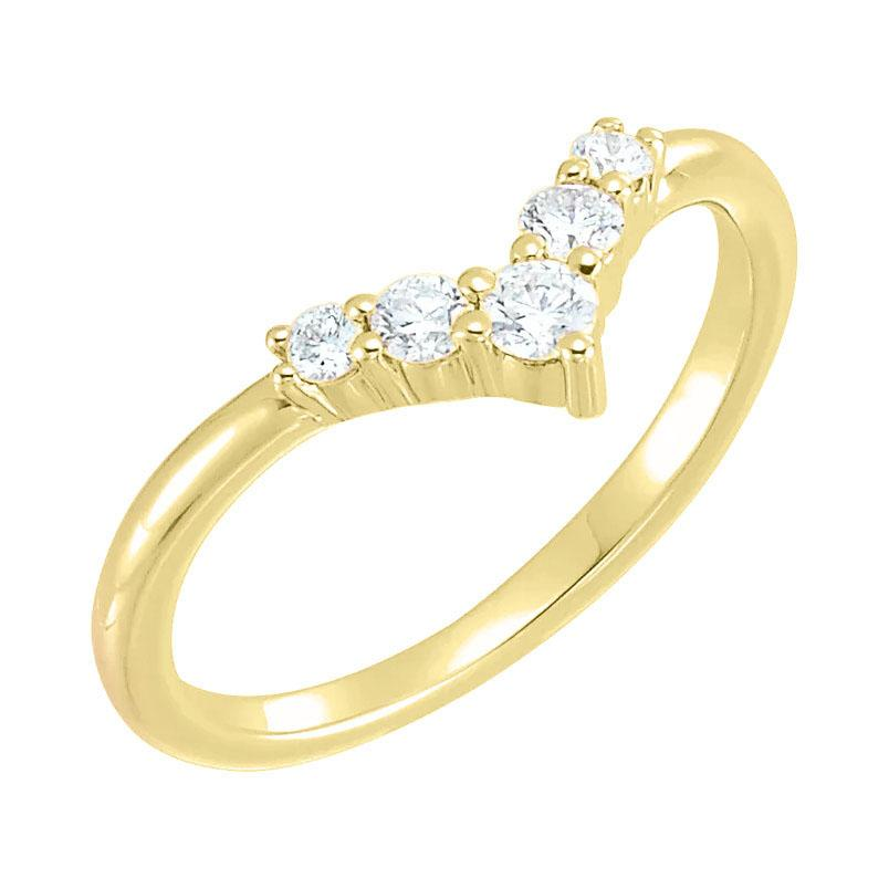 14k yellow gold diamond v shape ring
