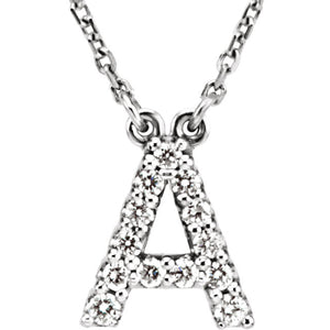 White Gold Letter A necklace