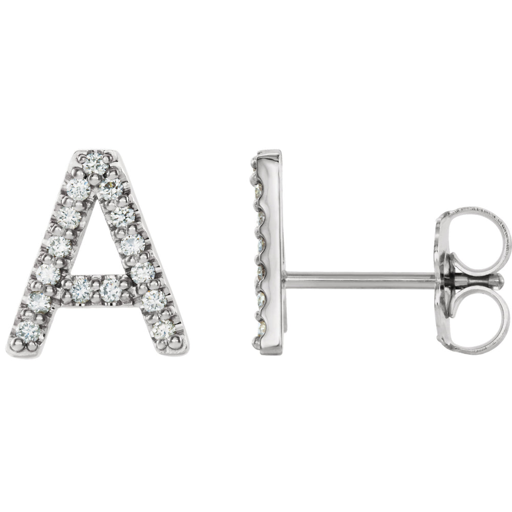 White Gold letter A earrings