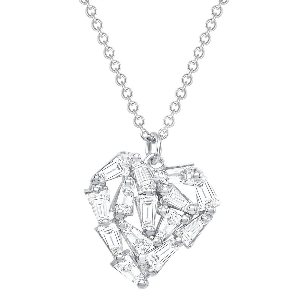 white gold baguette shattered heart necklace
