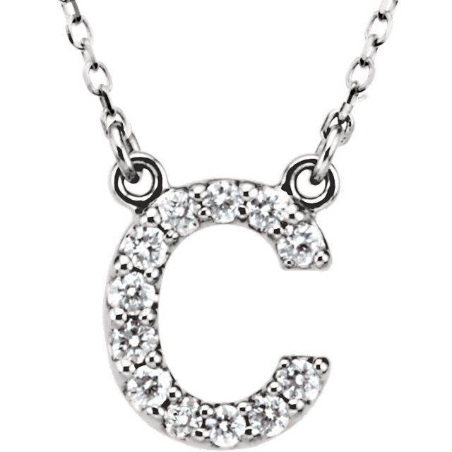 White Gold Letter C necklace