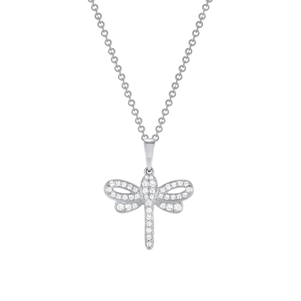 white gold diamond dragonfly pendant necklace