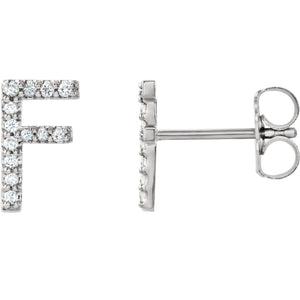 White Gold Letter F Earrings