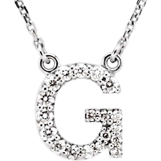 white gold letter g necklace