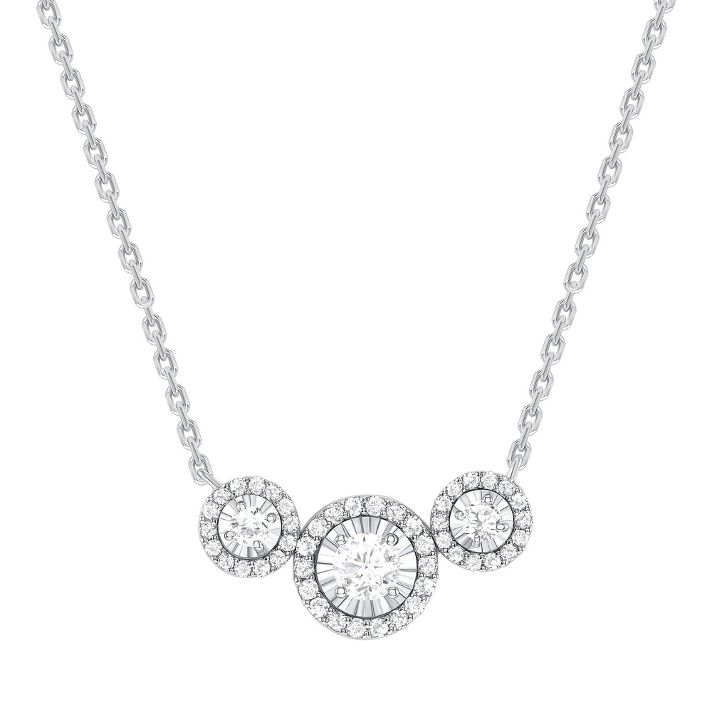 white gold halo diamond trio necklace