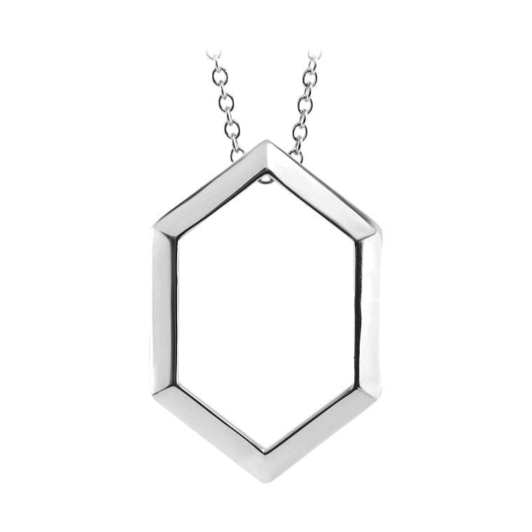 14k white hexagon necklace