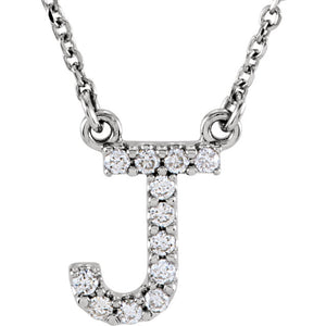 white gold letter j necklace