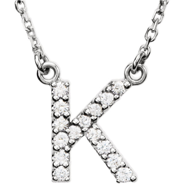 white gold letter k necklace