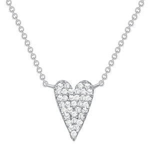 white gold long diamond heart necklace