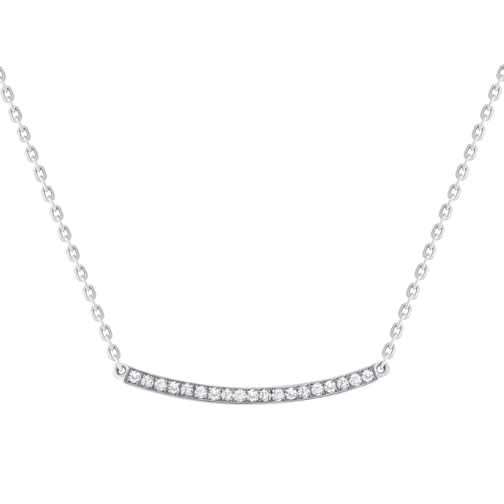 white gold loopy diamond bar necklace