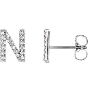 White Gold Letter N Earrings