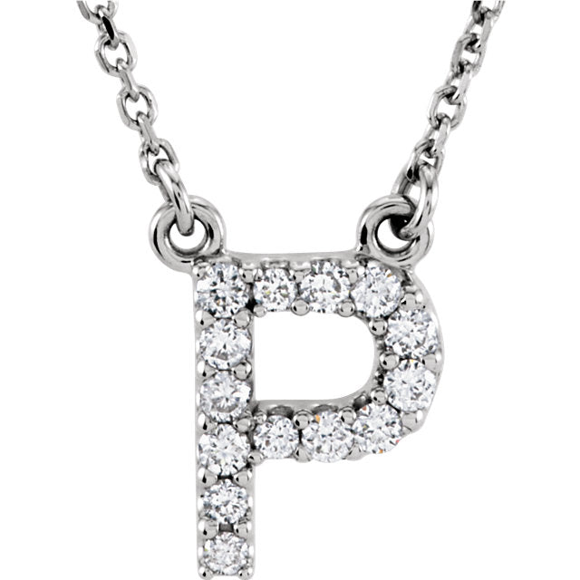 white gold letter p necklace