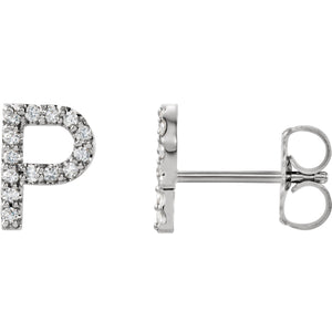 White Gold Letter P earrings