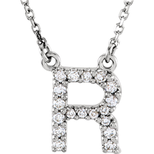 white gold letter r necklace