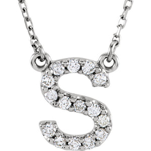 white gold letter s necklace
