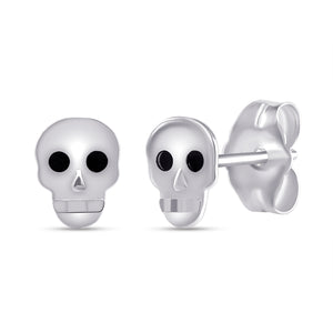 white gold skull earrings