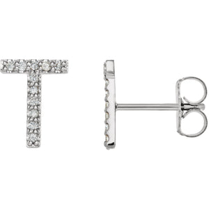 White Gold Letter T Earrings