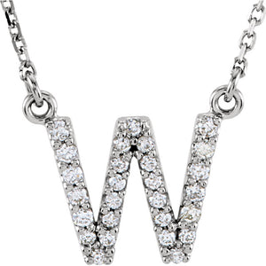 White Gold Letter W necklace