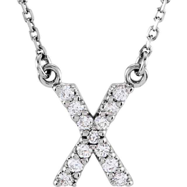 White Gold Letter X necklace