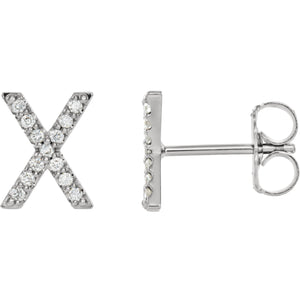 White Gold Letter X Earrings