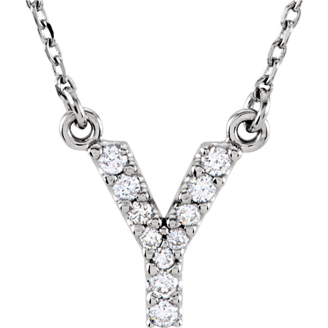 White Gold Letter Y necklace