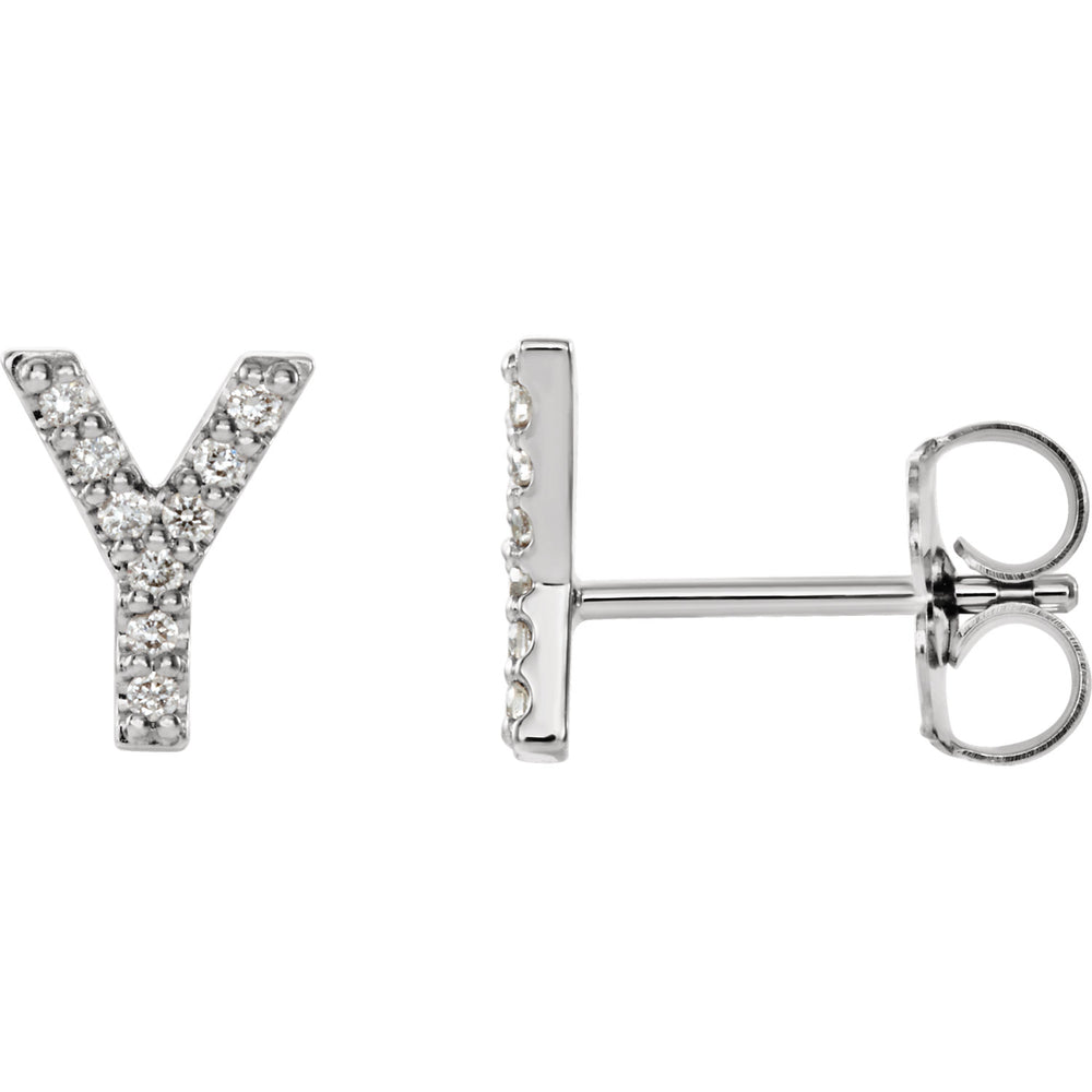 White Gold Letter Y Earrings