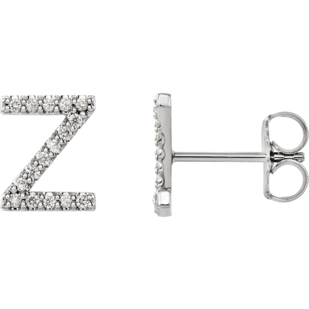 White Gold Letter Z Earrings