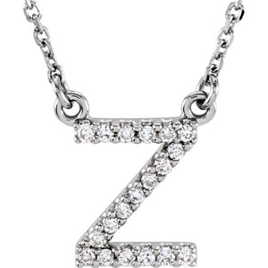 White Gold Letter Z necklace