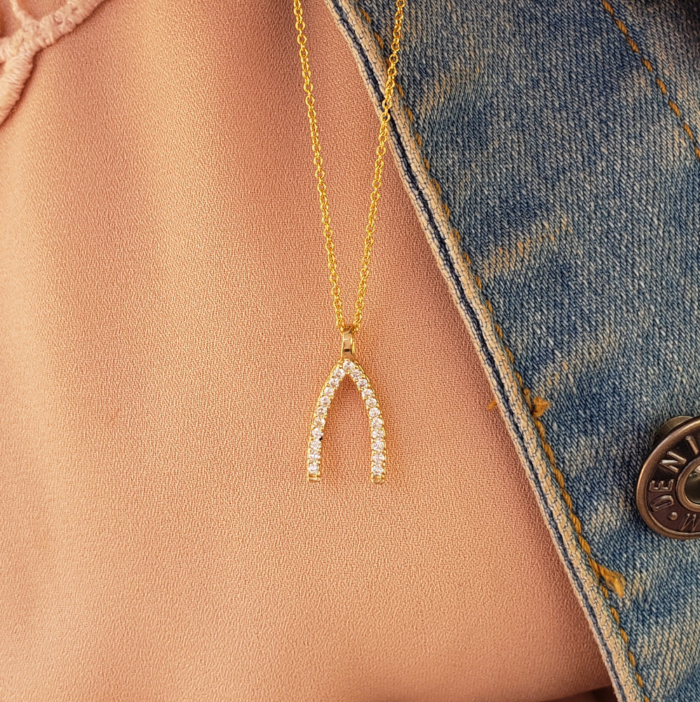 yellow gold wish bone diamond necklace