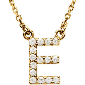 yellow gold letter e necklace