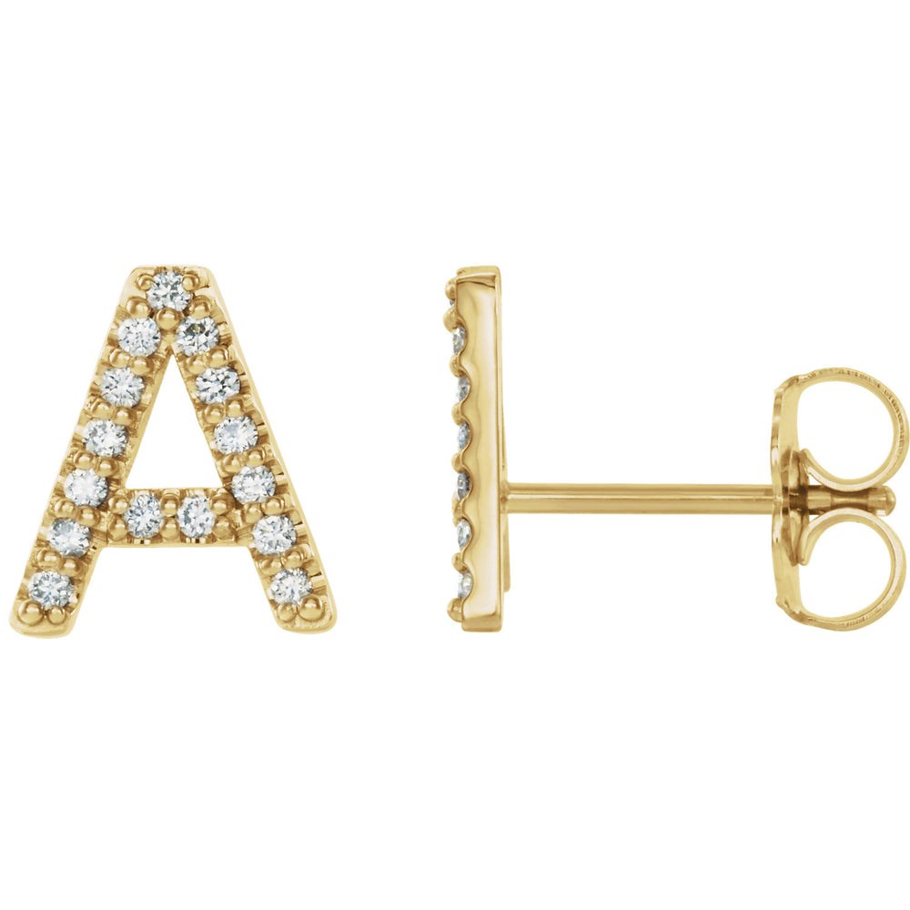 Yellow Gold Letter A Earrings
